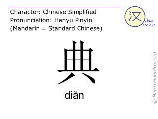 Chinesische Schriftzeichen  ( dian / diăn ) mit Aussprache (Deutsche Bedeutung: <m>Statut</m> )