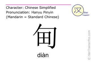 Chinese characters  ( dian / diàn ) with pronunciation (English translation: suburb )