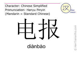 Chinese characters  ( dianbao / diànbào ) with pronunciation (English translation: telegram )