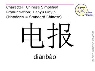 汉字  ( dianbao / diànbào ) 包括发音 (英文翻译: telegram )