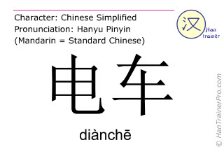Chinese characters  ( dianche / diànchē ) with pronunciation (English translation: trolley bus )