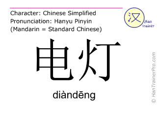 Chinese characters  ( diandeng / diàndēng ) with pronunciation (English translation: lamp )