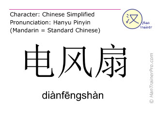 Chinese characters  ( dianfengshan / diànfēngshàn ) with pronunciation (English translation: fanner )