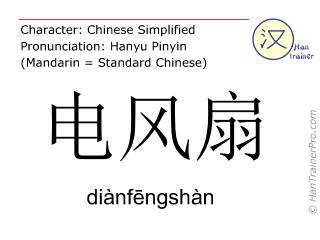 Caracteres chinos  ( dianfengshan / diànfēngshàn ) con pronunciación (traducción española: aireador )