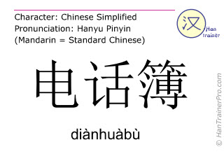 Chinese characters  ( dianhuabu / diànhuàbù ) with pronunciation (English translation: telephone directory )