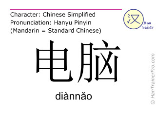 Chinese characters  ( diannao / diànnăo ) with pronunciation (English translation: computer )