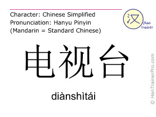 Chinese characters  ( dianshitai / diànshìtái ) with pronunciation (English translation: TV station )