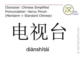 Chinese characters  ( dianshitai / diànshìtái ) with pronunciation (English translation: TV station )