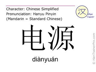 Caractère chinois  ( dianyuan / diànyuán ) avec prononciation (traduction française: source d'énergie )