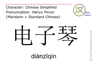 Chinese characters  ( dianziqin / diànzĭqín ) with pronunciation (English translation: electronic organ )