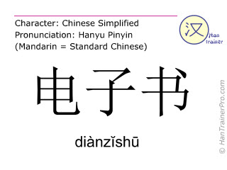 Chinese characters  ( dianzishu / diànzĭshū ) with pronunciation (English translation: electronic book )