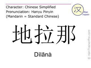 汉字  ( Dilana / Dìl&#257nà ) 包括发音 (英文翻译: Tirana )