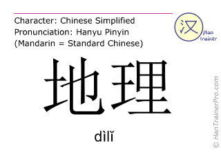 Chinese characters  ( dili / dìlĭ ) with pronunciation (English translation: geography )