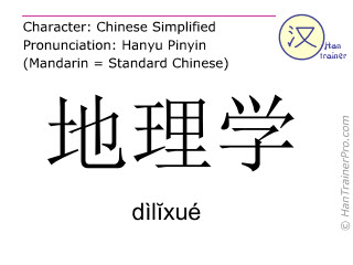 Chinese characters  ( dilixue / dìl&#301xué ) with pronunciation (English translation: geography )