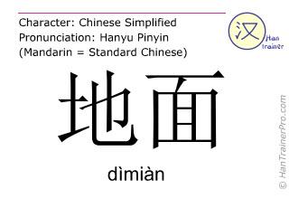 Caractère chinois  ( dimian / dìmiàn ) avec prononciation (traduction française: sol )
