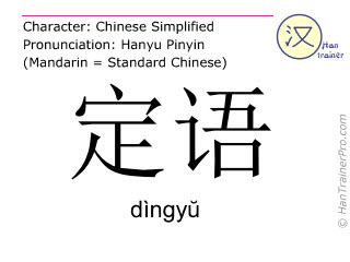 Chinese characters  ( dingyu / dìngy&#365 ) with pronunciation (English translation: attribute )