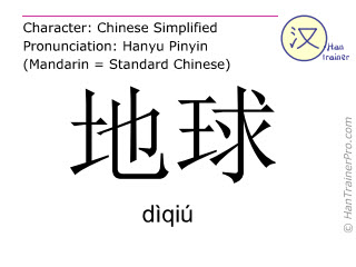 Chinese characters  ( diqiu / dìqiú ) with pronunciation (English translation: earth )