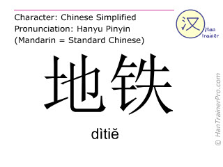 Chinese characters  ( ditie / dìti&#277 ) with pronunciation (English translation: subway )