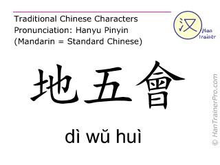 Chinese characters  ( di wu hui / dì wŭ huì ) with pronunciation (English translation: Gall Bladder 42 )