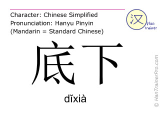 Chinese characters  ( dixia / dĭxià ) with pronunciation (English translation: beneath )