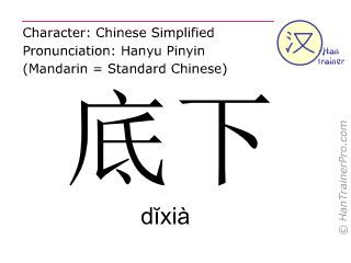 Chinesische Schriftzeichen  ( dixia / dĭxià ) mit Aussprache (Deutsche Bedeutung: unten )