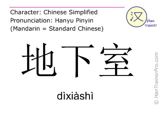 Chinese characters  ( dixiashi / dìxiàshì ) with pronunciation (English translation: basement )