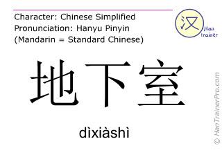 Chinese characters  ( dixiashi / dìxiàshì ) with pronunciation (English translation: basement )