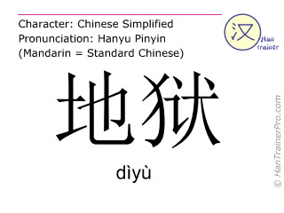 Chinese characters  ( diyu / dìyù ) with pronunciation (English translation: hell )