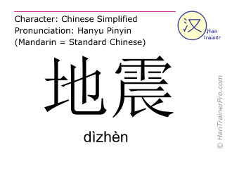 Chinese characters  ( dizhen / dìzhèn ) with pronunciation (English translation: earthquake )