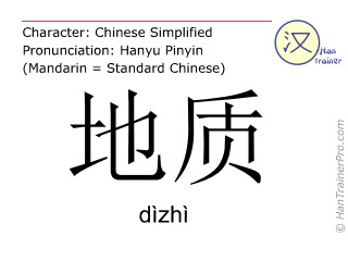 Chinese characters  ( dizhi / dìzhì ) with pronunciation (English translation: geology )