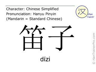 Chinese characters  ( dizi / dízi ) with pronunciation (English translation: bamboo flute )