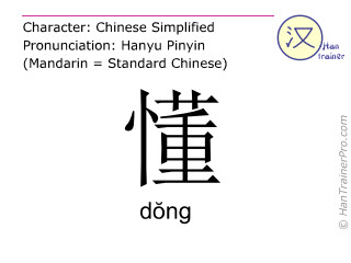 Chinese characters  ( dong / d&#335ng ) with pronunciation (English translation: to understand )
