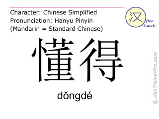 Chinese characters  ( dongde / dŏngdé ) with pronunciation (English translation: to understand )