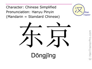 Chinese characters  ( Dongjing / D&#333ngj&#299ng ) with pronunciation (English translation: Tokyo )