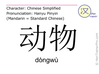 Chinese characters  ( dongwu / dòngwù ) with pronunciation (English translation: animal )