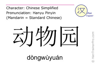 Chinese characters  ( dongwuyuan / dòngwùyuán ) with pronunciation (English translation: zoo )