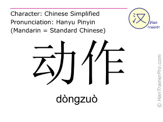 Chinese characters  ( dongzuo / dòngzuò ) with pronunciation (English translation: action )