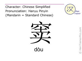 Caractère chinois  ( dou / dòu ) avec prononciation (traduction française: trou )