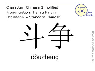 Chinese characters  ( douzheng / dòuzhēng ) with pronunciation (English translation: struggle )