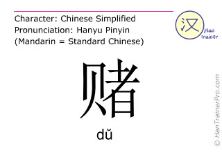 Chinese characters  ( du / d&#365 ) with pronunciation (English translation: to gamble )