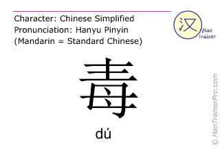Chinese characters  ( du / dú ) with pronunciation (English translation: poison )