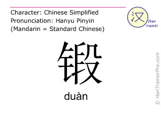 Chinese characters  ( duan / duàn ) with pronunciation (English translation: to forge )