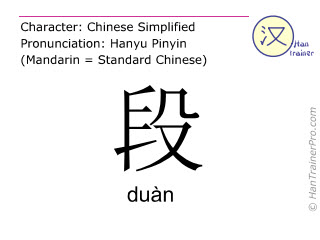 Chinese characters  ( duan / duàn ) with pronunciation (English translation: paragraph )