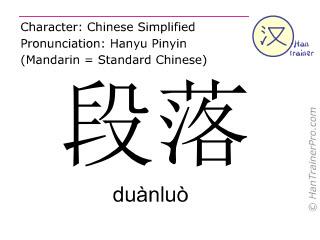 Caractère chinois  ( duanluo / duànluò ) avec prononciation (traduction française: section )