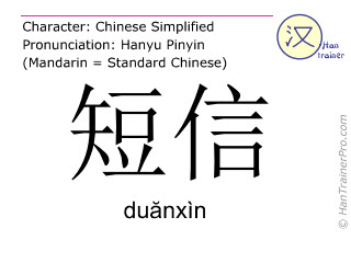 Chinese characters  ( duanxin / duănxìn ) with pronunciation (English translation: short message )