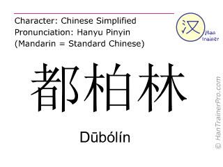 Chinesische Schriftzeichen  ( Dubolin / Dūbólín ) mit Aussprache (Deutsche Bedeutung: Dublin )