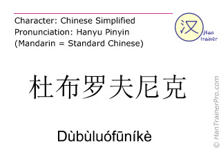 Chinese characters  ( Dubuluofunike / Dùbùluófūníkè ) with pronunciation (English translation: Dubrovnik )