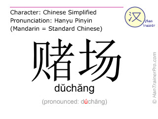 Chinese characters  ( duchang / dŭchăng ) with pronunciation (English translation: casino )