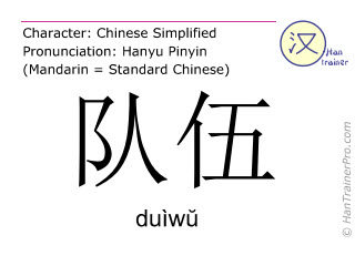 Chinese characters  ( duiwu / duìwŭ ) with pronunciation (English translation: contingent )