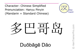 Chinese characters  ( Duobage Dao / Duōbāgē Dăo ) with pronunciation (English translation: Tobago )